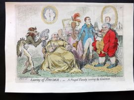 James Gillray 1851 HCol Caricature Print. Leaving off Powder